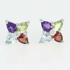 9ct White Gold Peridot, Garnet, Blue Topaz, Amethyst & Diamond Cluster Earrings
