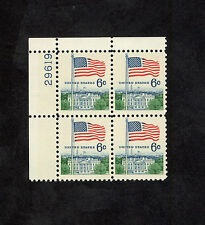 1338 Flag Over White House Plate Block Mint/nh Free Shipping