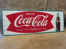 Vintage 1960s Embossed Coca-Cola Sign > Antique Coke Soda Button Store RARE 9949