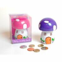 Beautiful Toadstool Shaped Fairy Friendship House Kids Money Box Bank Glittery