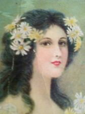 "Antique Bookmark Advertising  Rochester NY ""Ladies Fine Suitings"" Girl W Daisies"
