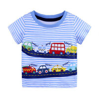 Boys Bus Car T-Shirt Age 18 24 Mths 2 3 4 5 6 Yrs Kids Blue Stripey Top Clothes