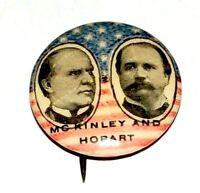 1896 WILLIAM MCKINLEY GARRET HOBART campaign pin pinback badge button political