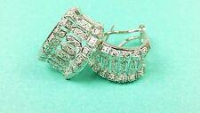 14K White Gold Omega Lock Earrings w/ Diamonds
