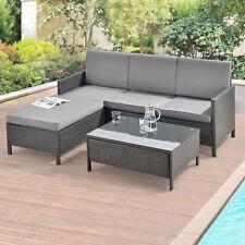 Gartenmöbel Loungeset Sitzgruppe Tisch Sofa Ecklounge Ecksofa Hocker Poly-Rattan