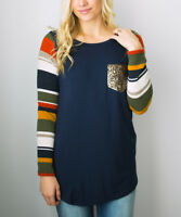 Ladies Top Size 12 Striped Navy Blue And Yellow Long Sleeved Womens T-Shirt