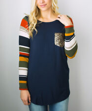 Sequin Pocket Tunic Size UK 12 Ladies Navy Blue & Yellow Striped Top NEW #1302