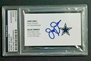 Jerry Jones Dallas Cowboys Owner General Mgr Autograph Signed Business Card PSA