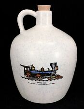 2003 LOG CABIN CERAMICS Jupiter 1868 Train Stoneware Ceramic Jug w/ Stopper IN