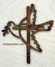 Noah's Dove Cross, Peace Cross, Baltic Birch Wall Hanging or Ornament, Item S3-4