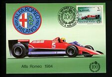 Car Auto Racing Maximum Card postcard Formula 1 Grand Prix Alfa Romeo 1984