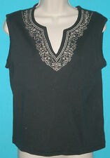 Allyson Whitmore Black Stretch VNeck Embroidered Sleeveless Top M B:38 W:37 L:21
