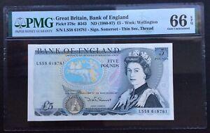 Bank Of England 5 Pounds,1980-1987,P-378c,QEII,PMG 66 EPQ,Gem Uncirculated