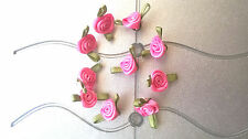 10 Small Satin Ribbon  Pink  rose buds  20mm wide