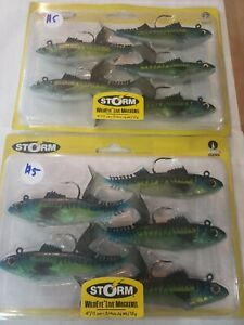 "Lot of 2- Storm WildEye Live Mackerel Soft 4"" Plastic Jig Swimbait Lure 3/4oz"
