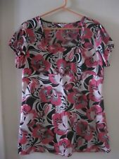 LADIES M & CO. PINK / BLACK / WHITE SHORT SLEEVED TOP. SIZE 16.