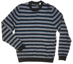 NEW $250 PS PAUL SMITH GRAY BLUE STRIPED MERINO WOOL CREWNECK SWEATER