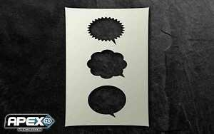 Speech Bubbles (3 types) Stencil - Airbrush, Sponging Snow ST-SPEECH1