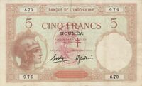 Vintage New Hebrides 5 Francs Banknote Pick 4b 1941 VF Overprint Rare Vanuatu