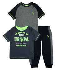 US Polo Assn Boys Gray & Lime Top 3pc Jogger Set Size 2T 3T 4T 4 5/6 7