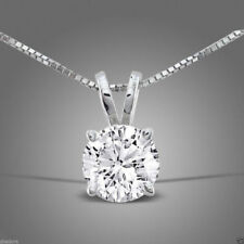 "2.0 ct  Round Cut Solitaire 14K White Gold Pendant Necklace +16"" Chain"