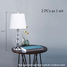 Set of 2 Table Lamp w Crystal Ball Desk Light For Office Bedroom Bedside Lamp