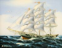 ARTIST SIGNED K MASKELL NAUTICAL TALL SHIP AT SEA MARITIME OIL PAINTING SEASCAPE