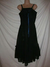Black vintage mesh net style frill 80's party prom  dress uk 12 eu 42 emo goth
