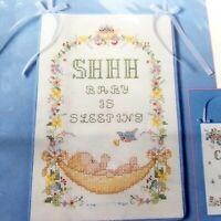 "Vintage Counted Cross Stitch SHHH Baby is Sleeping Door Hanger 1991 Sealed 6x9"""
