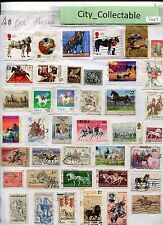 T447 # BULK 40 PCS  HORSES USED STAMPS GB JAPAN LIBERIA POLAND ETC
