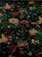 Braemore Floral Fabric Large Print Black Background Heavily Polished 8 YDS