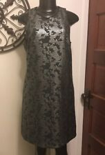 S LAUNDRY Black Silver Sequin Sleeveless Scoop Neck Tank Dress