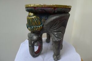 Hand Carved Wooden Elephant Stand / Stool / Side Table / Plant Stand