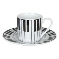 Könitz Piano Espresso Espressotasse Tasse Untertasse Kaffeetasse Weiß Schwarz