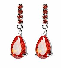 18K White Gold GP Teardrops Earrings with Orange-Red Fireopal Swarovski Crystals