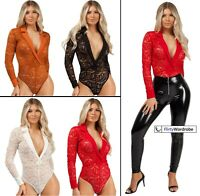 Floral Lace Leotard Bodysuit Plunge Neckline Collared Lapel Long Sleeve Womens