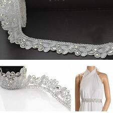 Hand Beaded Dress Bridal Border 9 YD Trim Ribbon Silver Craft COLLECTIBLE EDH