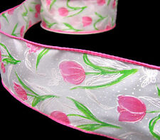 5 Yds Flower Spring Tulips Flowers White Satin Wired Ribbon 2 1/2 YELLOW OR PINK