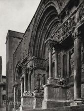 1927 Vintage FRANCE Saint-Gilles Church Entrance Architecture Photo By HURLIMANN