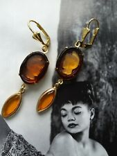 vintage intaglio warrior topaz glass lucite crystals gold brass earrings