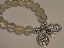 SAINT CHRISTOPHER-GUARDIAN ANGEL CHARM BRACELET- CITRINE 12MM GEMSTONE BEADS