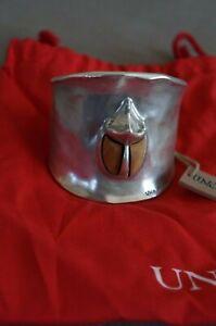"""NEW Uno De 50 Silver 2.25"""" Thick ESCUDAJO Beetle Cuff Bracelet 7-8"""" RP $440"""