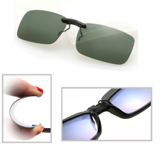 Green Polarized Clip On Driving Glasses Sunglasses Day Vision Shades UV400 Lens