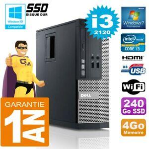 PC DELL 390 SFF Core I3-2120 RAM 4Go Disk 240 Go SSD DVD Burner Wifi W7