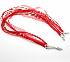 Red Organza Ribbon & Twine Necklaces Set of 5