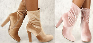 Ankle Round Closed Toe Slouchy Chunky Block Mid Heel Faux Velvet Booties Boots
