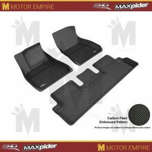 For 20 - 21 Tesla Model 3 Floor Mats 1st 2nd Row Liners Kagu Black 3D Maxpider