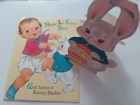 Large Vtg 2 Pc Norcross BUNNY Basket Stand Up BABYS 1st EASTER GREETING CARD