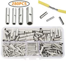 280Pcs Ferrule Crimp Wire Terminal Bare Copper Splice Butt Connectors 22-10 AWG