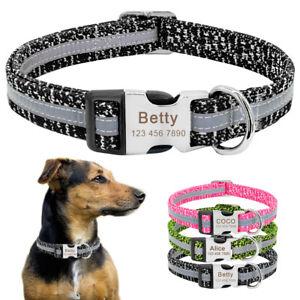 Personalized Reflective Dog Collar Nylon Engraved ID Name Customized Adjustable